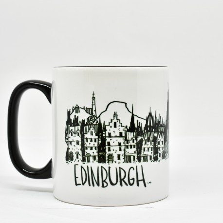 Black Handled Mug - LineArts: Edinburgh Landmarks