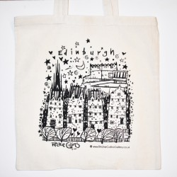 Small Tote Bag: Edinburgh Black and White