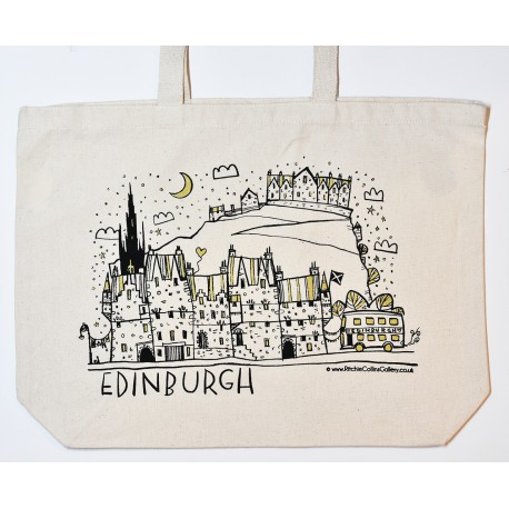 Large Tote Bag - LineArts: Edinburgh Night