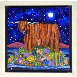 Original: Highland Coo Moon (Framed)