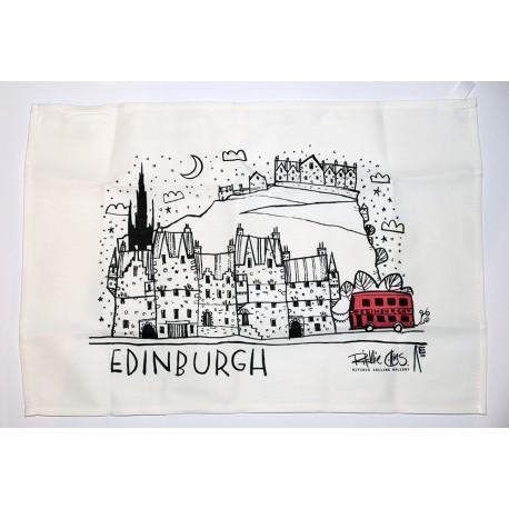 Tea Towels: Edinburgh Line Drawing - Red Bus